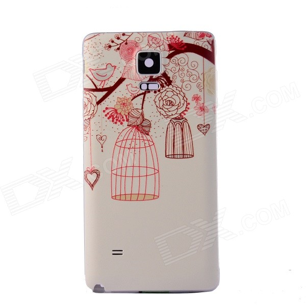 Birdcage Pattern Back Cover for Samsung Galaxy Note 4 - Beige + Red
