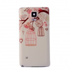 Birdcage Pattern Protective PC Battery Back Cover for Samsung Galaxy Note 4 - Beige + Red