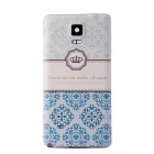 Embossed Pattern Protective Plastic Battery Back Cover for Samsung Galaxy Note 4 - White + Blue
