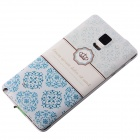 Embossed Pattern Back Cover for Samsung Galaxy Note 4 - White + Blue