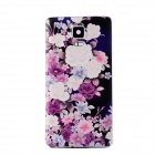 Flowers Pattern Plastic Battery Back Cover for Samsung Galaxy Note 4 - Deep Purple + Multi-Color
