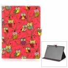 Cartoon Owl Pattern Flip-Open Protective PU Leather + PC Case w/ Stand for IPAD AIR 2 - Red
