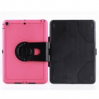 Mini Rotary Protective TPU Full Body Case w/ Stand for IPAD MINI 1 / 2 / 3 - Black + Deep Pink
