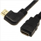Yellow Knife Y75 Left Angled HDMI Male to Female Cable - Black (50cm)