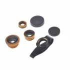 Universal 3-in-1 180° Fisheye + 0.67X Wide Angle + Macro Lens for IPHONE / IPAD - Golden + Black
