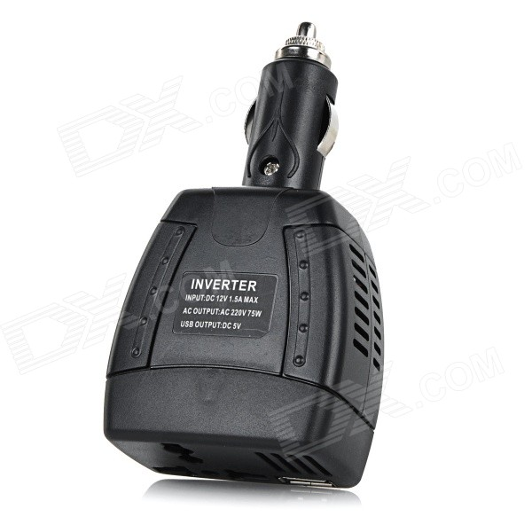 75W DC 12V to AC 220V Car Power Inverter w/ USB Port - Black