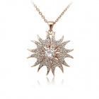 Rshow Stylish Sunflower-shaped Crystal Rhinestone-studded Pendant Necklace - Gold