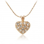 Rshow Stylish Rhinestone-studded Heart-shaped Pendant Necklace - Gold