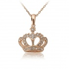Rshow Stylish Crystal Studded Crown Shaped Pendant Necklace - Gold