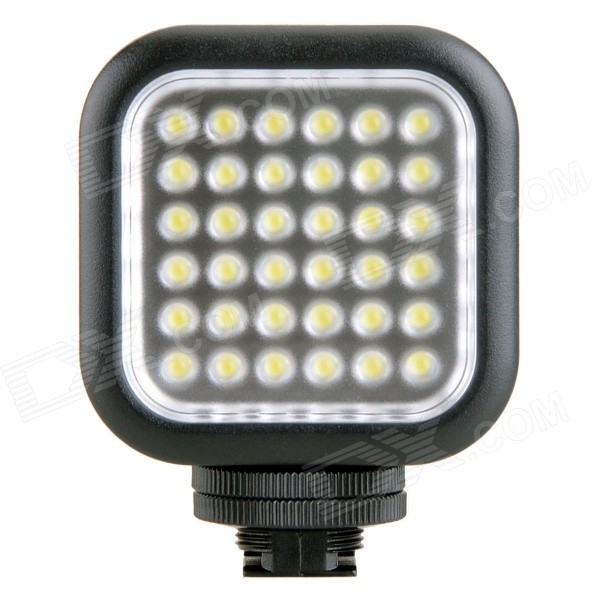GODOX Portable 260lm 6500K 36-LED Video Light - Black (2 * AA)Lighting and Flash<br>Form ColorBlackModelN/AMaterialABSQuantity1 DX.PCM.Model.AttributeModel.UnitCompatible BrandUniversalCompatible ModelsUniversalActual Lumens&gt;260 DX.PCM.Model.AttributeModel.UnitTheoretical Lumens&gt;260 DX.PCM.Model.AttributeModel.UnitTypeLEDColor Temperature5500~6500KWorking Voltage   3 DX.PCM.Model.AttributeModel.UnitPowerLED Quantity36 DX.PCM.Model.AttributeModel.UnitBattery TypeAABattery included or notNoBattery Quantity2 DX.PCM.Model.AttributeModel.UnitCertificationCEPacking List1 x LED Video Light 1 x English / Chinese user manual<br>