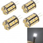 YouOkLight G4 6W 580lm 6000K 27-SMD 5050 LED White Light Bulb Lamp - Yellow+Silver(AC/DC 12V/ 4 PCS)