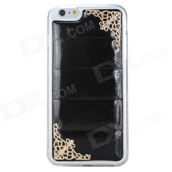 Hollowed Lace Corners TPU + PU Back Case for IPHONE 6 PLUS - Black