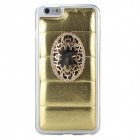 Pearly Lustre Inlaid Mirror TPU + PU Back Cover Case for IPHONE 6 PLUS - Gold