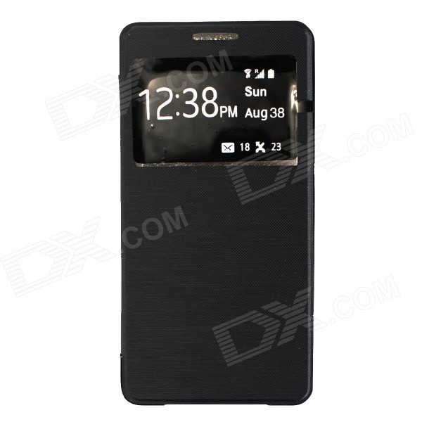 Flip-Open Case w/ Visual Window for Samsung Galaxy A5 - Black