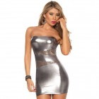Sexy High Elastic Close-fitting Strapless Dress + G-String Set - Silver