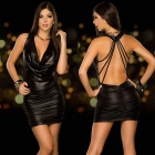 LT105 Ultra Sexy Deep V-Neck Backless Slim Dress - Black