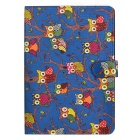 Cute Owl Pattern PU + PC Case w/ Stand + Auto Sleep for IPAD AIR 2 - Blue + Black + Multicolored