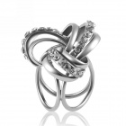 eQute XPEW29C2 Fashionable Ring-in-Ring Style Scarf Ring / Brooch - Black