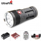 UltraFire U-7T 7-LED 7000lm Cool White 3-Mode Super Bright Flashlight - Black (4 x 18650)