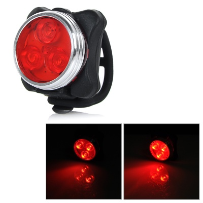 USB Rechargeable 100lm White 3-LED 4-Mode Bike Light - Black + Red