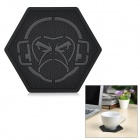 EDCGEAR Monkey Pattern Thickened Anti-Slip Non-Slip PVC Cup Mat Pad Coaster - Black