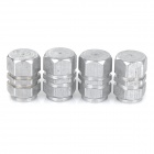 Replacement Aluminum Alloy Tire Valve Cap for Car - Silver (4pcs)