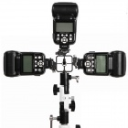 Adjustable Clamp Style Aluminum Alloy Cold Shoe Adapter Mount Holder for Speedlite Flashgun - Black
