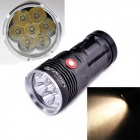 UltraFire 3-mode 7-LED Warm White 6500lm Flashlight Torch - Black (4 x 18650)