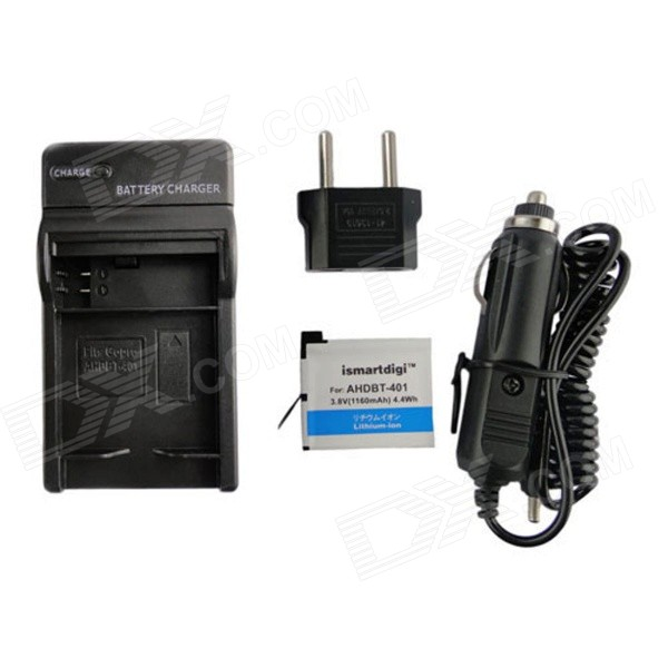 Ismartdigi Battery w/ Charger EU Adapter for GoPro 4 - Black (1160mAh)