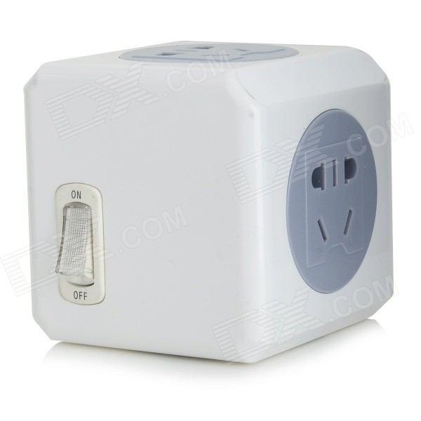 Universal Travel AC Power Adapter 4-Outlet Socket - Grey (220V)