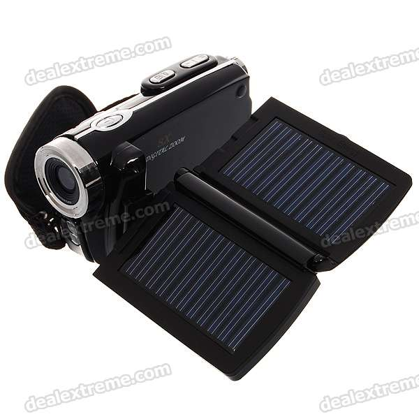 "Solar Rechargeable 3.0"" TFT LCD 12.0 Mega Pixels 8X Digital Zoom Camcorder with SD Slot"