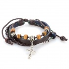 Fashionable Cross Style Beads + Split Leather Band Bracelet - Deep Brown + Silver