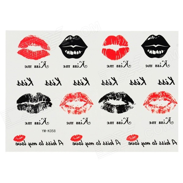YM-K058 Sexy Lips Pattern Tattoo Paper Sticker - Black + Red