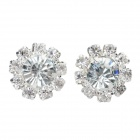 Women's Shiny Sunflower Shaped Rhinestone Inlaid Ear Studs - Silver + Translucent White (Pair)