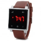 Fashionable Square Silicone Band Digital Wrist Watch w/ Red Backlight - Brown (1 x CR2032)