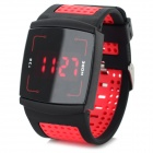 Fashion PU Band Touch Screen Red LED Digital Wrist Watch - Black + Red (1 x CR2032)