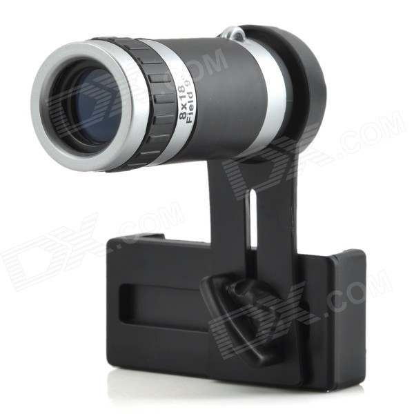 Universal 8X Telephoto Lens Telescope for Cellphone - Black + Silver - Free Shipping - DealExtreme