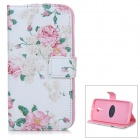 Protective Patterned Flip-Open PU Case w/ Stand / Card Slots for Motorola MOTO G2 - White + Pink