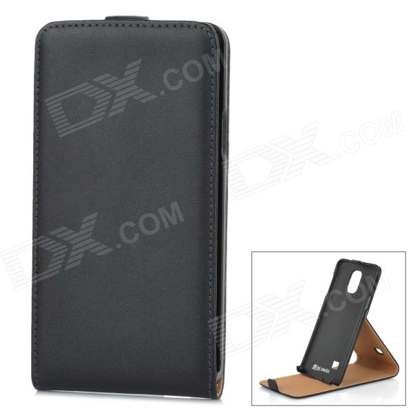 Flip-Open Leather Case Cover for Samsung Galaxy Note 4 / N9100 - Black