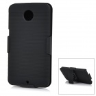 2-in-1 Detachable Protective ABS Back Case Cover w/ Waist Clip for Motorola NEXUS 6 - Black