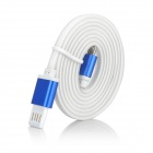Magnetic Micro USB 5-Pin Fast Charging Data Sync Cable for Samsung / HTC & More - White + Blue (1m)