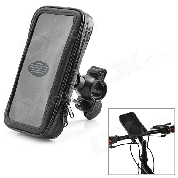Cycling Water-Resistant Phone Pouch Bag + Bike Mount Holder Set for Motorola NEXUS 6 - Black