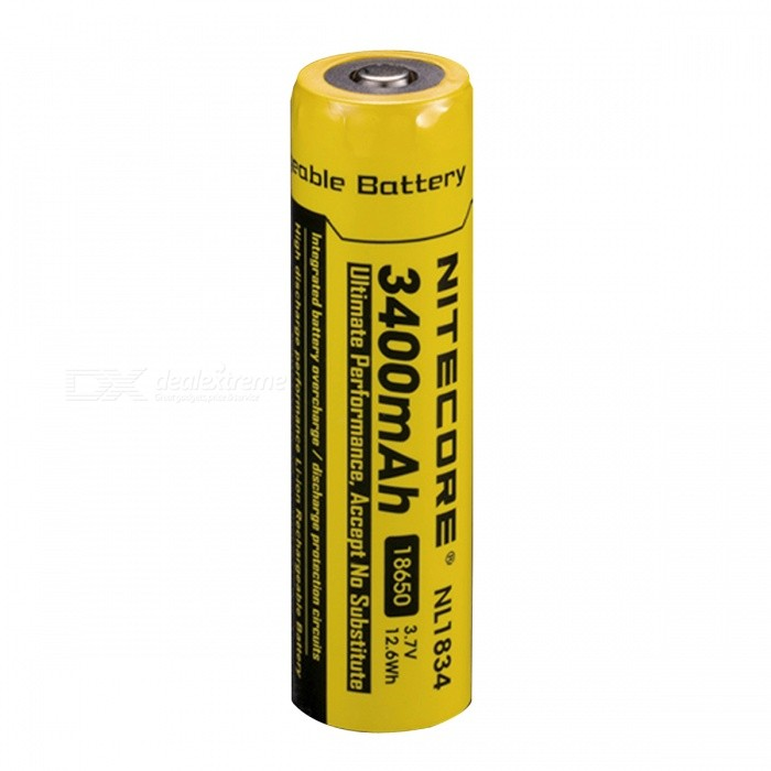 NiteCore Rechargeable 3.7V 3400mAh Li-ion Battery - Black + YellowBatteries<br>Form  ColorBlack + YellowModelNL1834Quantity1 DX.PCM.Model.AttributeModel.UnitMaterialLithium-ionCell TypeLithium IonBattery Model18650Head TypeButton TopMark Capacity3400 DX.PCM.Model.AttributeModel.UnitMeasured Capacity 3400 DX.PCM.Model.AttributeModel.UnitVoltage3.7 DX.PCM.Model.AttributeModel.UnitRechargeableYesRechargeable TimesOthers,500 TimesBuilt-in Protected CircuitYesOver Voltage ProtectionYesShort-Circuit ProtectionYesOver-Charging ProtectionYesOver-Discharging ProtectionYesMercury FreeYesOther FeaturesOver-charge / over-discharge to protect circuit, high performance rechargeable battery.Packing List1 x Battery<br>