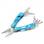 Stainless Steel Multi-Function Pocket Toolkit Foldable Pliers with Carrying Pouch (Blue)