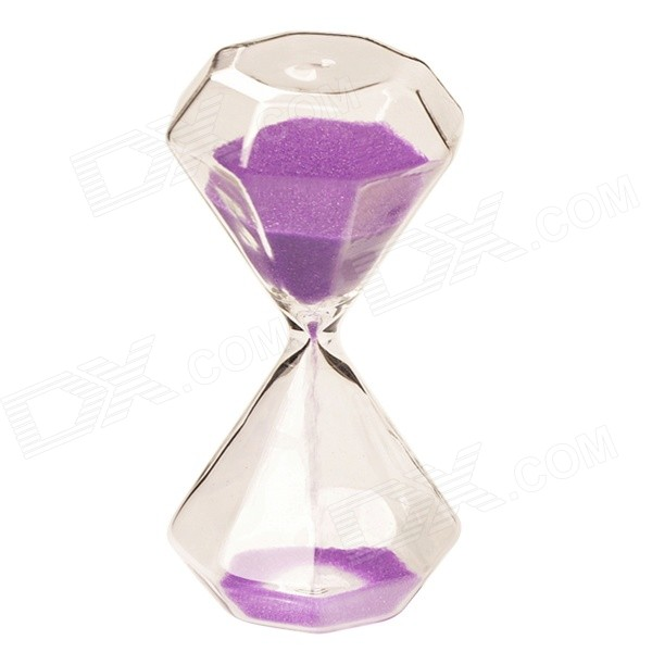 SL-002 5-Minute Hourglass / Sand Glass Timer - Purple + TransparentDecorations &amp; Displays<br>Form  ColorBlue Purple + Translucent WhiteModelSL-002MaterialHigh-borosilicate heat-resistant glassQuantity1 DX.PCM.Model.AttributeModel.UnitDimension5.5 x 5.5 x 12cm DX.PCM.Model.AttributeModel.UnitStyleFashion,ContemporaryOther FeaturesTiming: 5 minutes; Pure manual blast can be produced.Packing List1 x Hourglass<br>