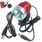 ZHISHUNJIA 360' Rotating 880lm 6-Mode White LED 3.7~8.4V USB Powered Bike Headlamp - Red + Silver
