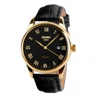 SKMEI 9058 Men's Water-Resistant Roman Numerals Quartz Analog Watch w/ Calendar - Black (1 x SW626)