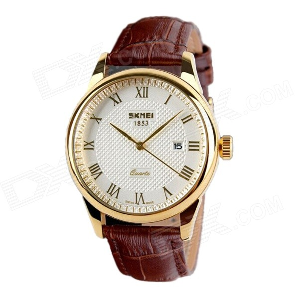 SKMEI 9058 Waterproof Quartz Leather Strap Watches - Gold + White