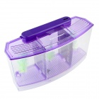 3-Compartment Aquarium Fish Tank w/ 6-LED Light - Purple + Transparent