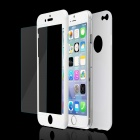 Plastic Full Body Shell + Tempered Glass Screen Protector Film for IPHONE 6 - White